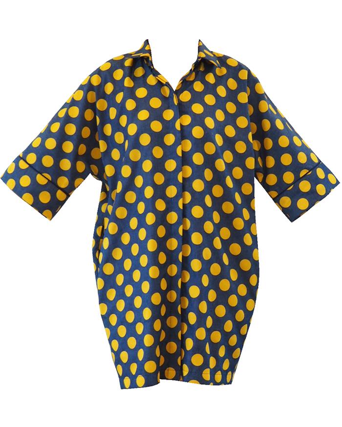 Yellow polka dots Shirt Dress